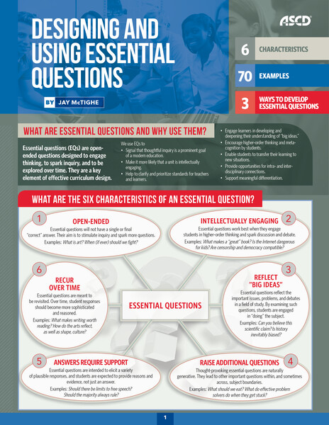 Book banner image for Designing And Using Essential Questions