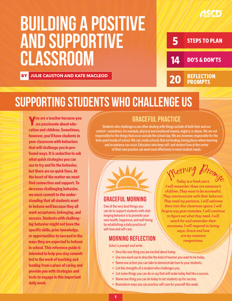 Book banner image for Building a Positive and Supportive Classroom (Quick Reference Guide)-thumbnail