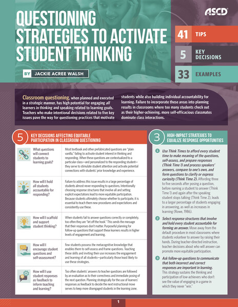 Book banner image for Questioning Strategies to Activate Student Thinking